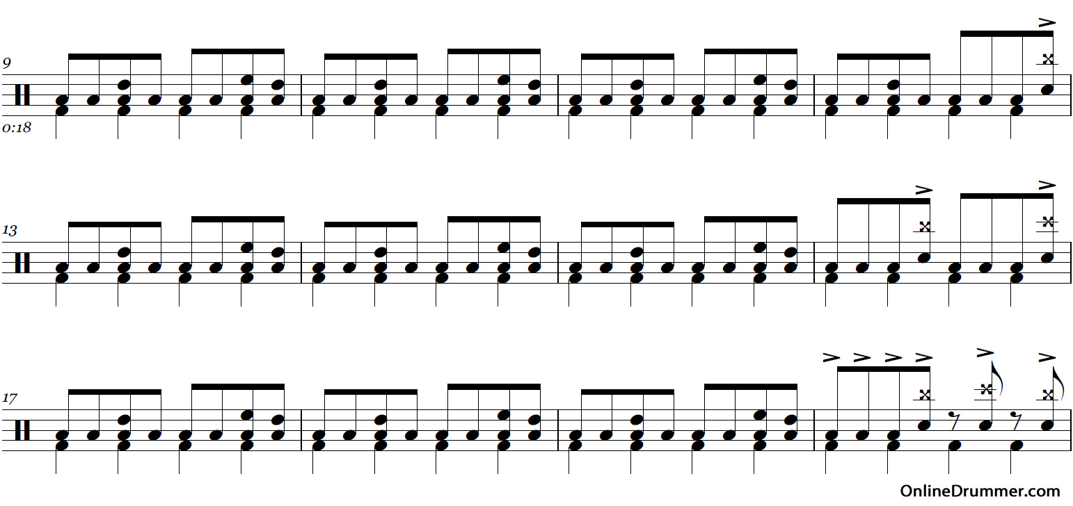 Drum tabs for enter sandman