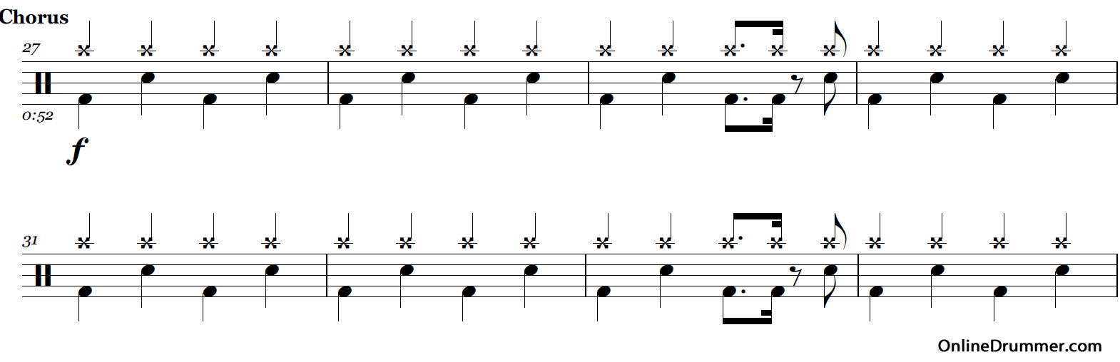 Seven Nation Army - White Stripes u2013 Drum Sheet Music : OnlineDrummer.com
