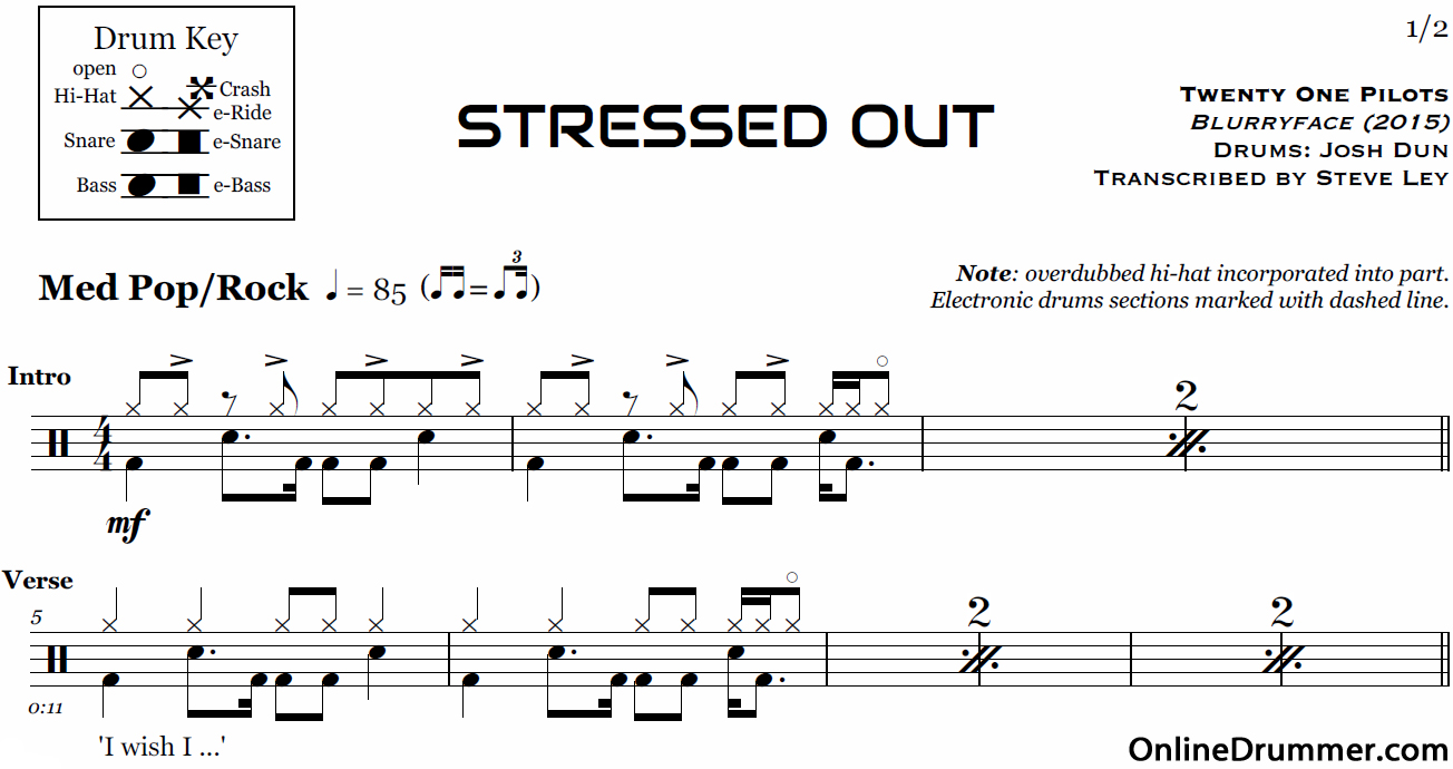 Stressed Out - Twenty One Pilots u2013 Drum Sheet Music : OnlineDrummer.com
