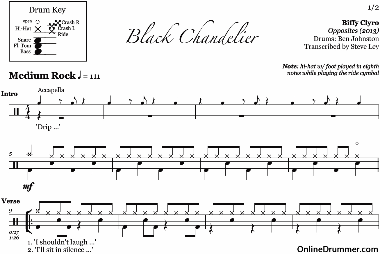 Black chandelier biffy clyro drum sheet music onlinedrummer description sample arubaitofo Gallery