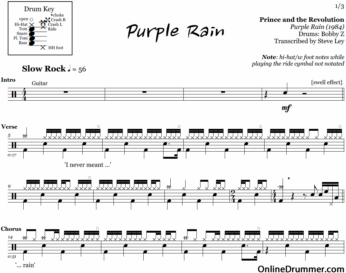 Purple Rain - Prince and the Revolution u2013 Drum Sheet Music : OnlineDrummer.com