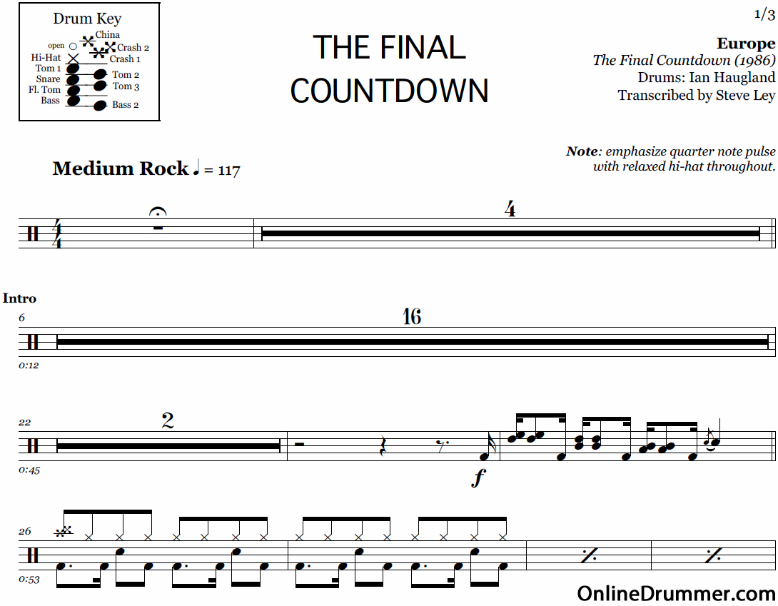 partition batterie the final countdown