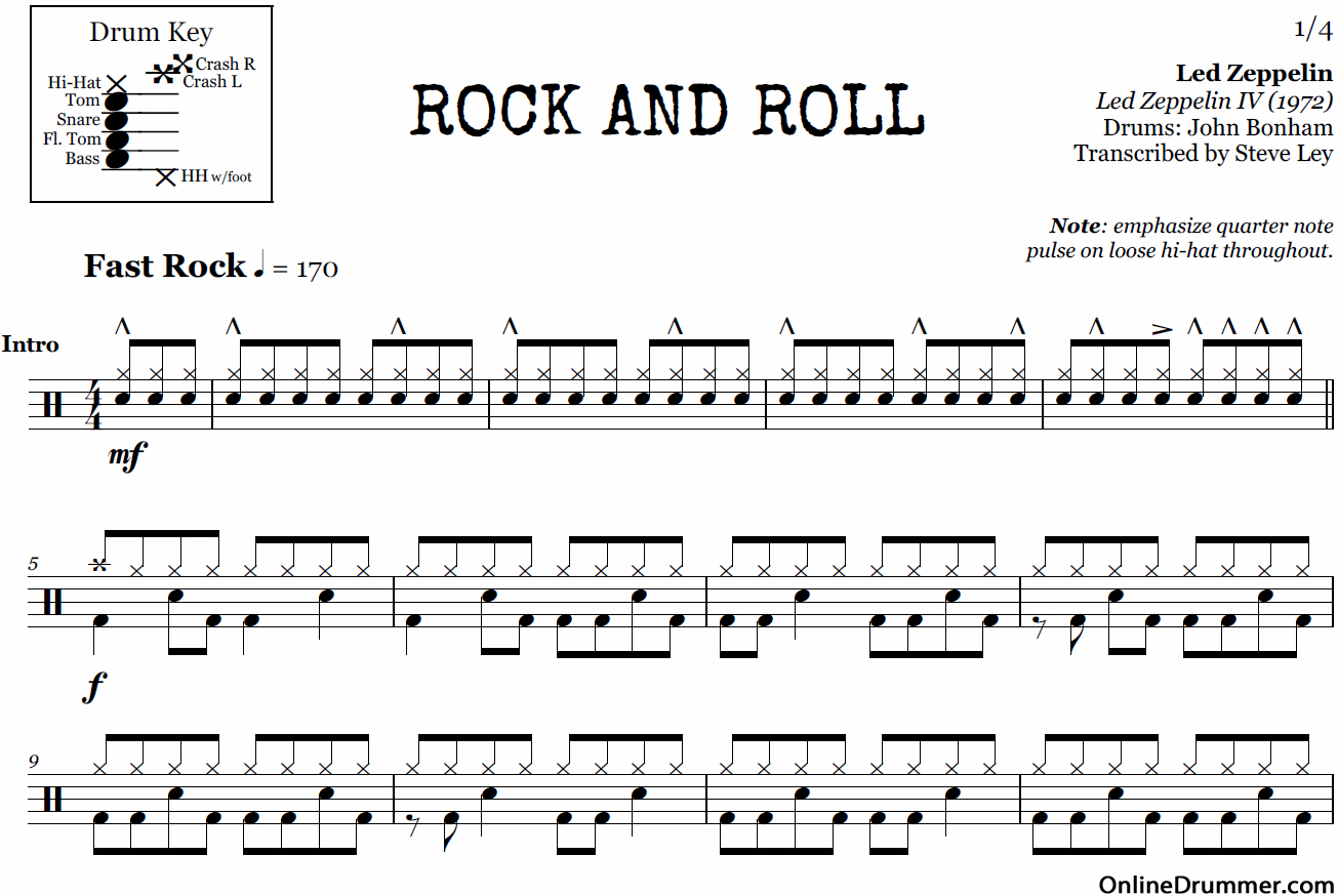 Rock and Roll - Led Zeppelin u2013 Drum Sheet Music : OnlineDrummer.com