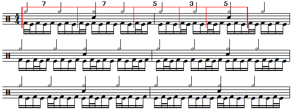 """Playing the """"Herta"""" pattern in groupings of 3's, 5's and 7's."""