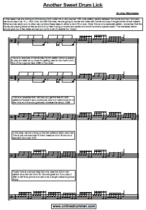 Another Sweet Drum Lick – Sheet Music