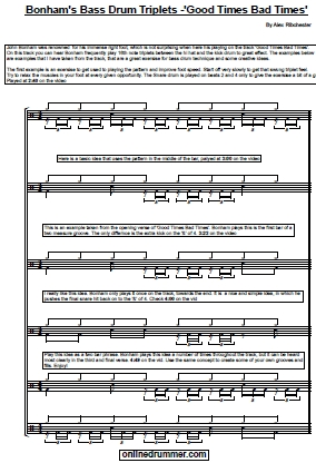 Bonham's Bass Drum Triplets – Good Times Bad Times – Sheet Music