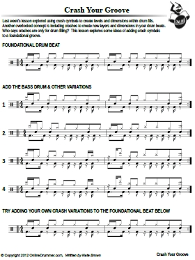 Crash Your Groove – Sheet Music