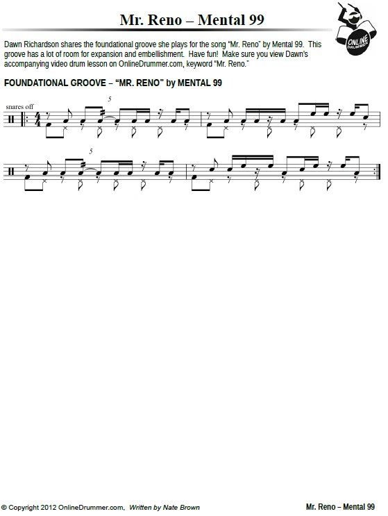 Mr. Reno Drum Beat – Sheet Music PDF