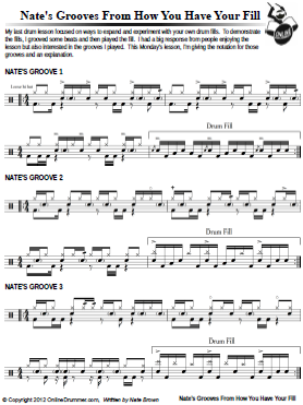 Nate's Grooves From – How You Have Your Fill – Sheet Music